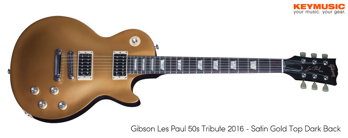 Gibson Les Paul 50s tribute 2015 - Satin Gold Top Dark back gitaar